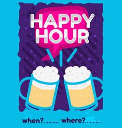 Happy hour poster flyer design pink sky blue vector