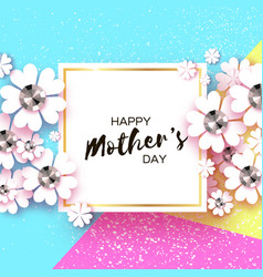 Happy mothers day white floral greeting card with vector