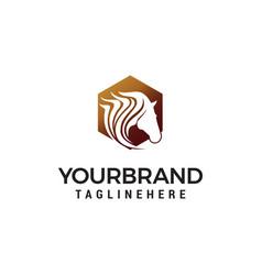 head pegasus logo design concept template vector image