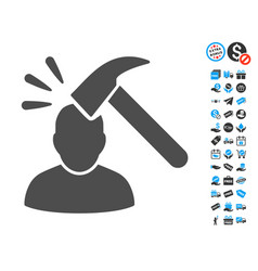 Head shock flat icon with free bonus elements vector