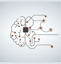 hi tech brain made of electric lines symbolizing vector image