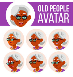 indian old woman avatar set hindu asian vector image
