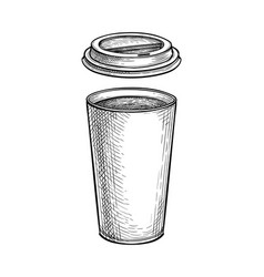 ink sketch hot drink in paper cup with lid vector image