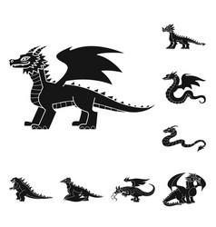 Isolated object dinosaur and history logo set vector