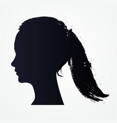 isolated silhouette of woman head with flowin vector image
