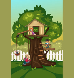 kids playing in a tree house vector image