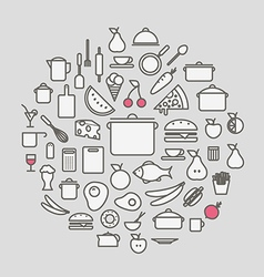Kitchen tools and meal silhouette icons circle vector