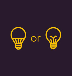 Led light bulb and usual linear icons vector