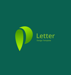 letter p eco leaves logo icon design template vector image