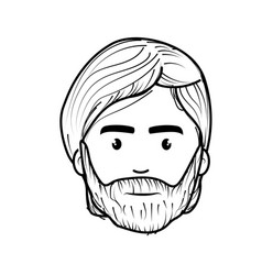 Line nice face man with beard and hairstyle vector
