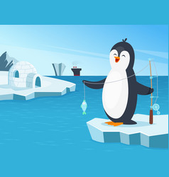 little penguin fishing in the vector image