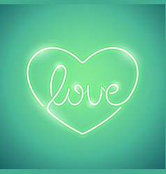 love neon sign green vector image