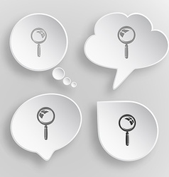 Magnifying glass White flat buttons on gray vector