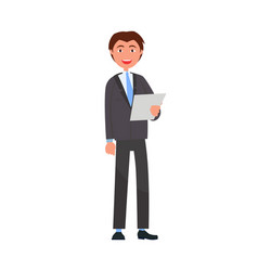 man in formal wear with list of paper businessman vector image