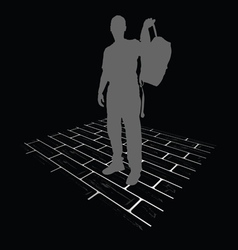 Man silhouette on brick vector