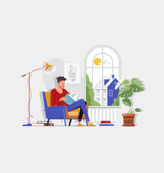 man with glasses and home clothes reading book and vector image