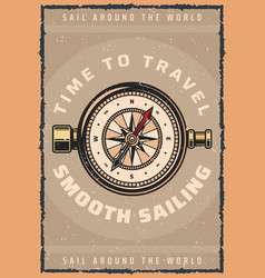 marine travel compass retro poster vector image