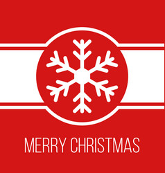 Merry christmas red greeting card with snowflake vector