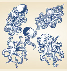 octopus drawing blue vintage vector image