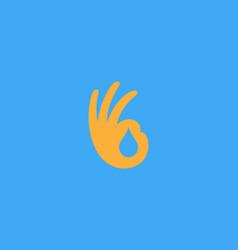 ok hand logo design modern minimal style vector image