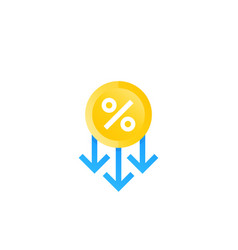Percent down cost reduction icon vector