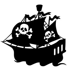 pirate ship silhouette vector image
