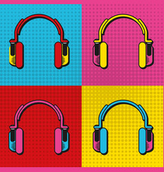 Pop art headphones frames vector