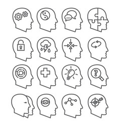 psychology line icons set vector image