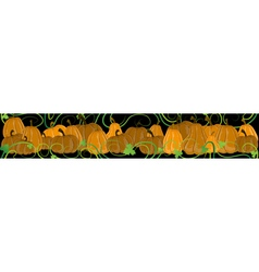 Pumpkins with sprouts and leaves on a black vector image