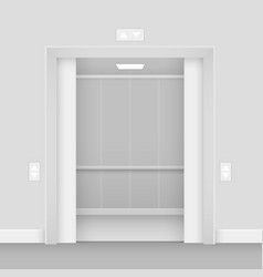 Realistic opened empty elevator hall interior vector