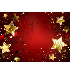 Red background with gold stars vector