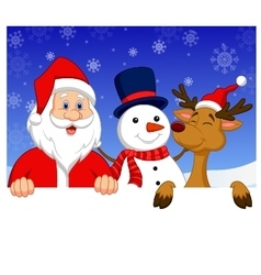 Santa Claus nosed reindeer and snowman with blank vector image