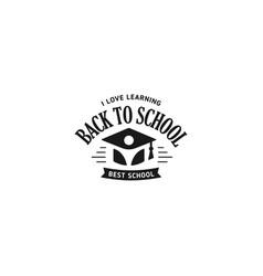 school logo monochrome vintage style vector image
