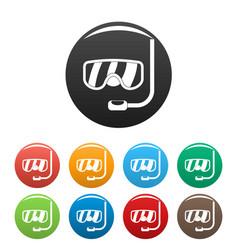scuba mask icons set color vector image
