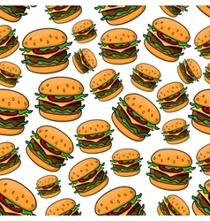 Seamless pattern with tasty cheeseburgers vector