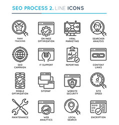 seo search engine optimization process thin line vector image vector image
