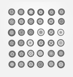 Set of car wheels vector