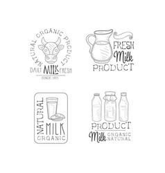 set of monochrome logos for milk production vector image