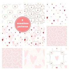 Set of nine pink seamless patterns vector image vector image