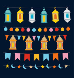 set of ramadan kareem strings and garlands with vector image