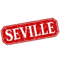 Seville red square grunge retro style sign vector