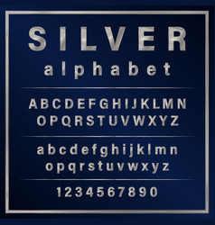 silver colored metal chrome alphabet font vector image