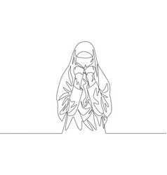 Single continuous line drawing young vector