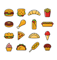 Sixteen fast food icons vector