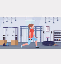 Sporty woman doing squats with dumbbells girl vector