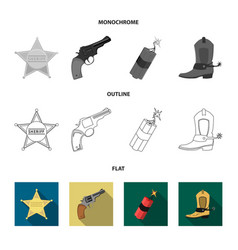 Star sheriff colt dynamite cowboy boot wild vector