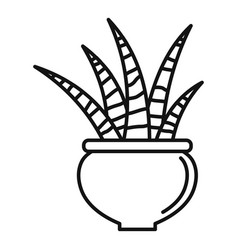 Striped succulent icon outline style vector