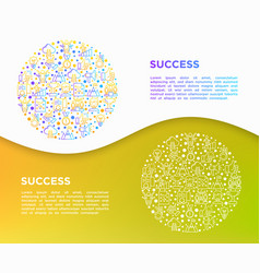 success concept in circle thin line icons vector image