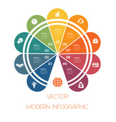 template of colorful semicircle for infographics vector image