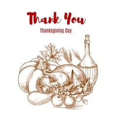 Thanksgiving autumn harvest sketch decoration vector